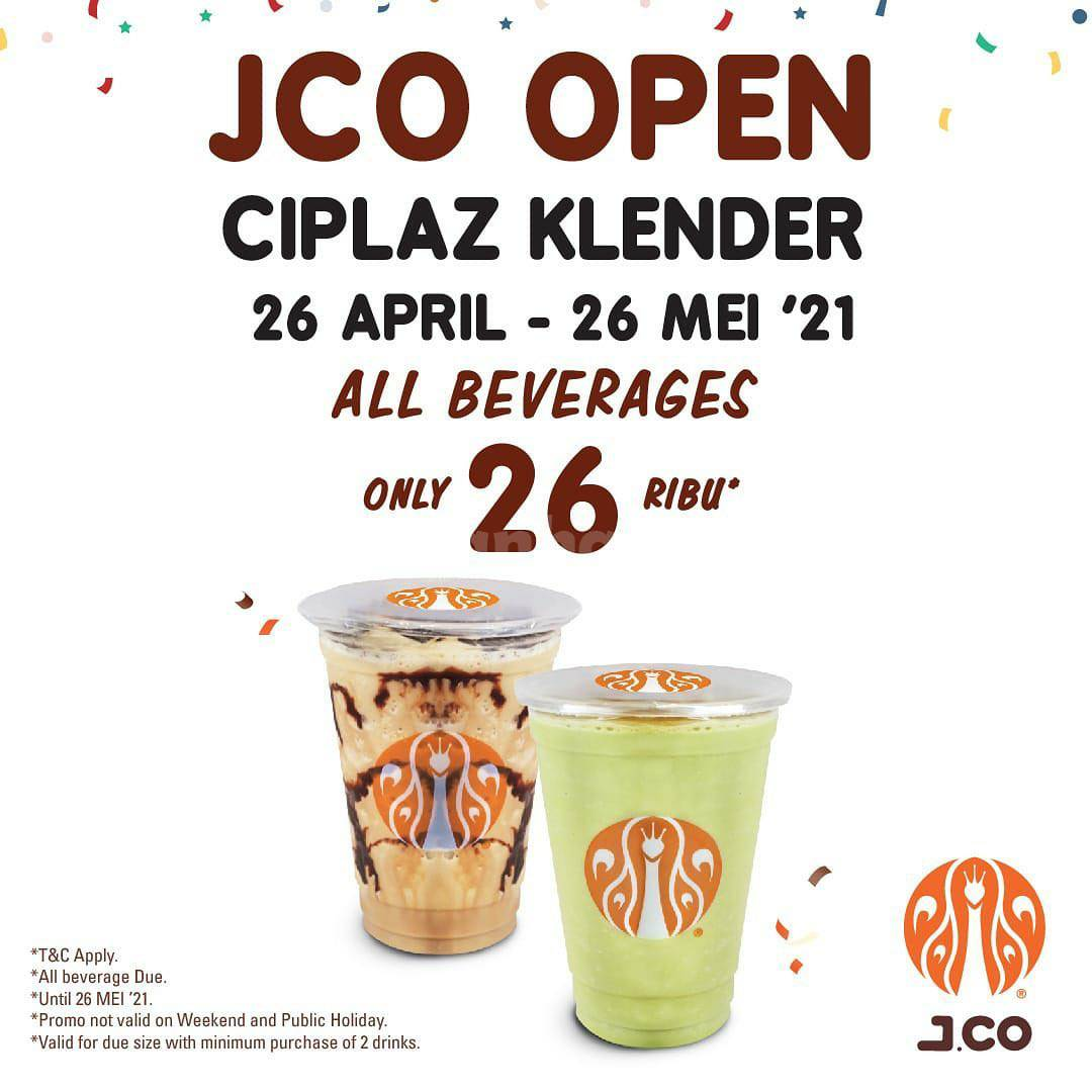 JCO CIPLAZ KLENDER Opening Promo - All Beverages hanya 26K