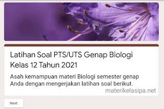 Latihan alignPTS/UTS Genap Biologi Kelas 12 Tahun 2021