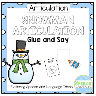 These Articulation Glue and Say pages are a great way to work on a variety of sounds in all positions of words using a winter snowman theme.