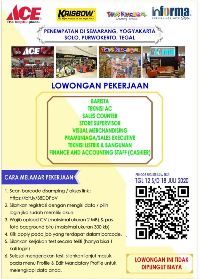 Lowongan Kerja Penempatan di Semarang Yogyakarta, Solo, Purwokerto, Tegal Kawan Lama Retail