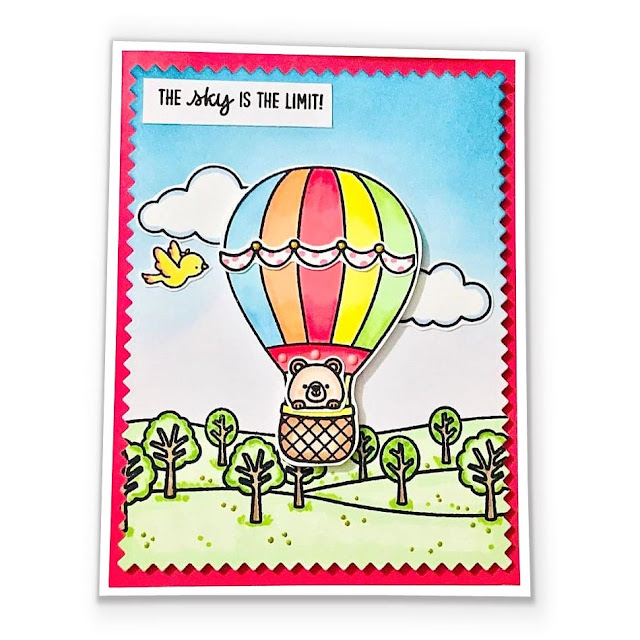 Sunny Studio Stamps: Balloon Rides Country Scenes Customer Card by Nuria