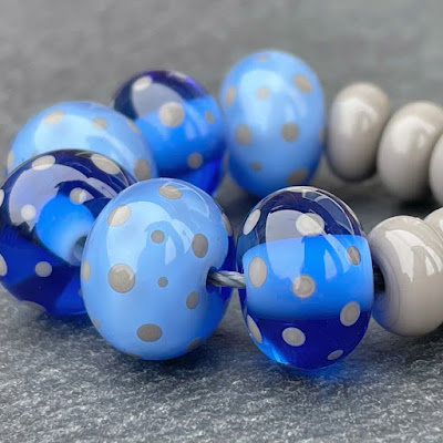 Handmade lampwork glass beads made with Creation is Messy Robert E.