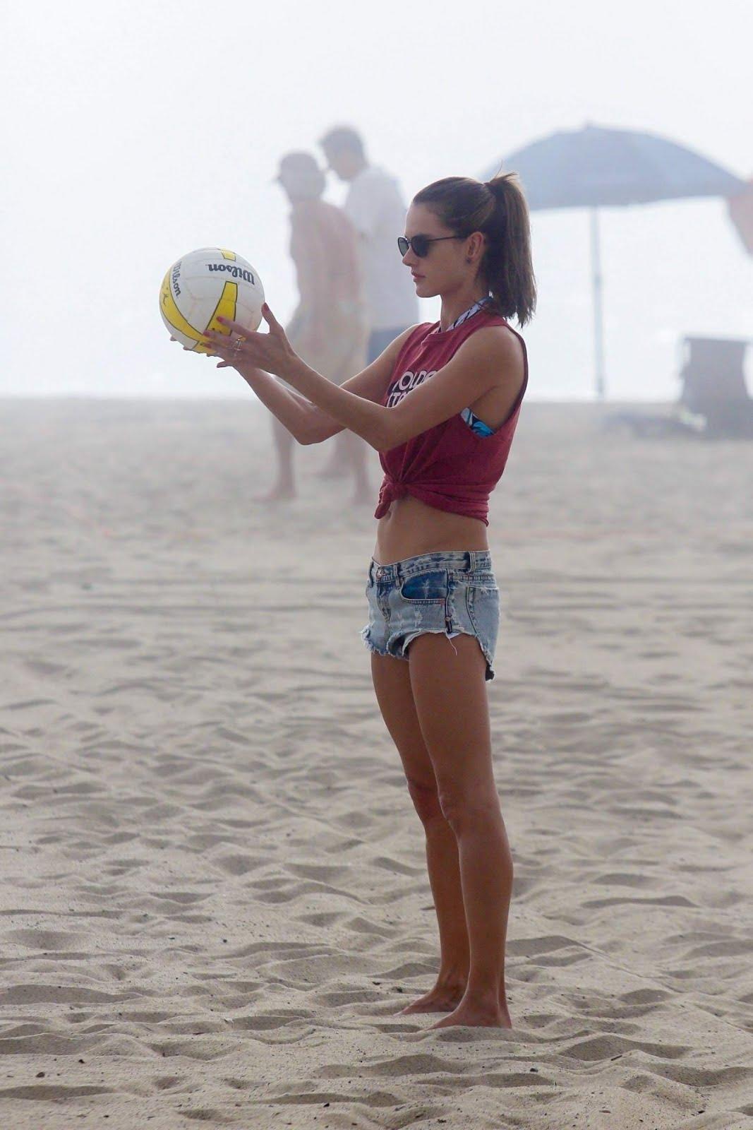 Victoria's Secret model Alessandra Ambrosio Playing Volleyball on the Beach in Santa Monica