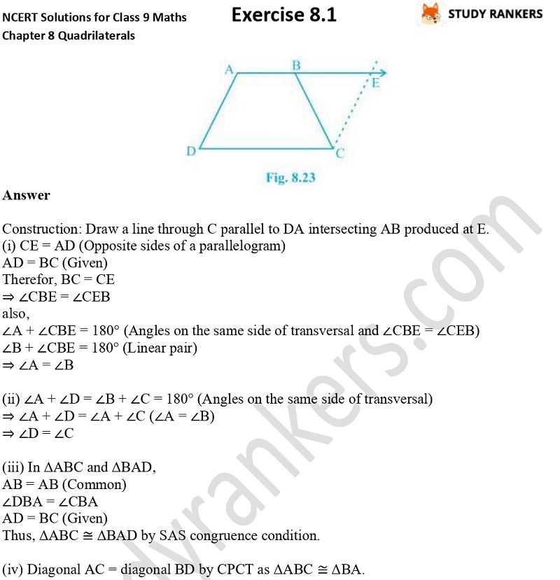 .NCERT Solutions for Class 9 Maths Chapter 8 Quadrilaterals Exercise 8.1 Part 9