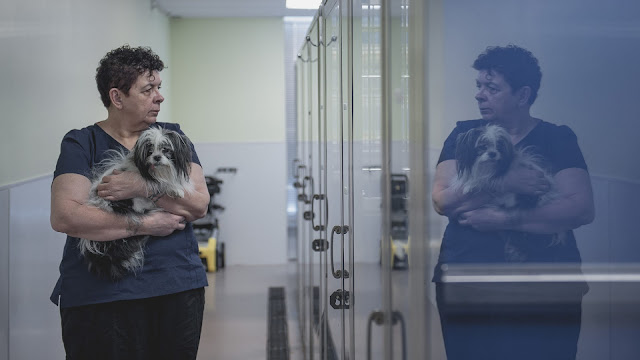A woman holding a dog looks at her reflection in a reflective wall