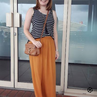 awayfromtheblue Instagram | ochre striped maxi skirt with black and white stripe tank rebecca minkoff MAB camera bag
