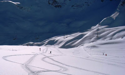 Piste in the morning after snowfall