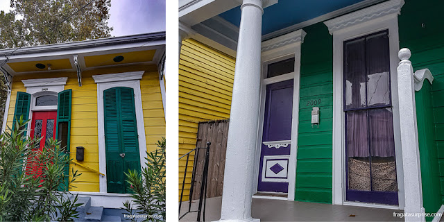 Casas típicas da arquitetura creole no Faubourg Marigny, em Nova Orleans