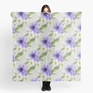 Purple Anemone Patterned Scarf