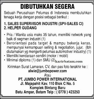 Lowongan Kerja PT. Jumbo Power International