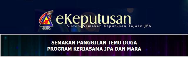 Keputusan Program JPA - MARA 2016 Online