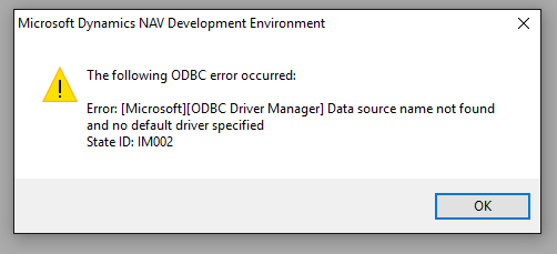 """Data source name not found and no default driver specified"""" when."""