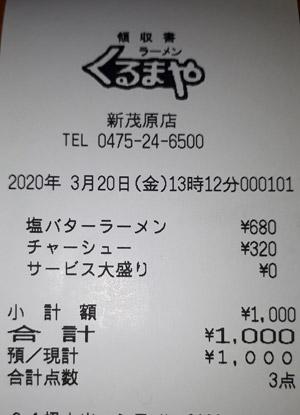 くるまやラーメン 新茂原店 2020/3/20 飲食のレシート