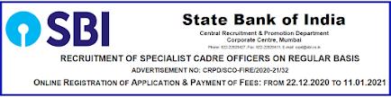 SBI Specialist Officer Recruitment 2021