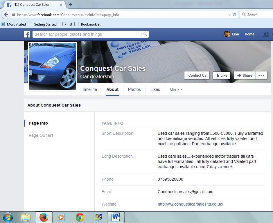 dodgy car dealers conquest car sales facebook page. Black Bedroom Furniture Sets. Home Design Ideas