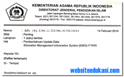 Jadwal Update Data EMIS PTKIN Tahun 2019