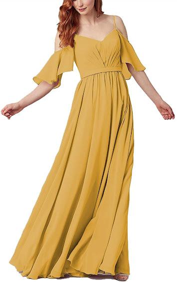 Mustard Yellow Chiffon Bridesmaid Dresses