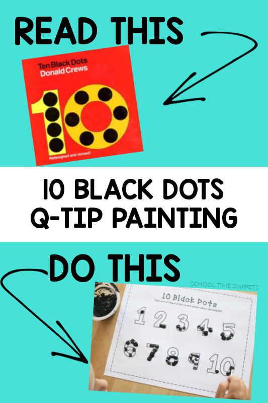 10 black dots q-tip painting for kids