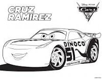 Disney Pixar's Cars 3 colouring page - Cruz Ramirez