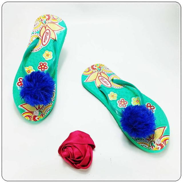 Sandal Jepit Spon Wanita Murah- AB Sablon Bunga Pompom Wanita-085860854424