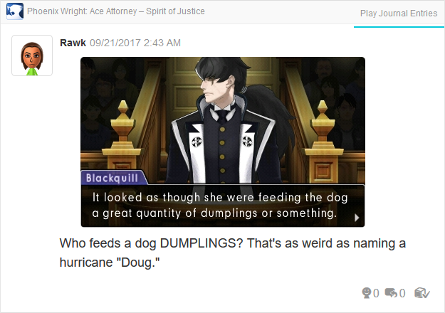 Phoenix Wright Ace Attorney Spirit of Justice Simon Blackquill feeding dog dumplings