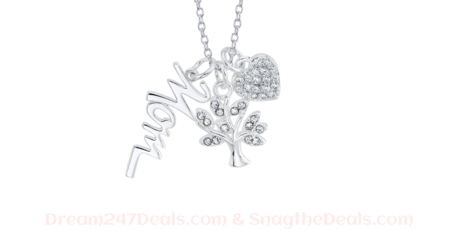 JCPENNY Footnotes Mom Charm Sterling Silver 18 Inch Cable Pendant Necklace