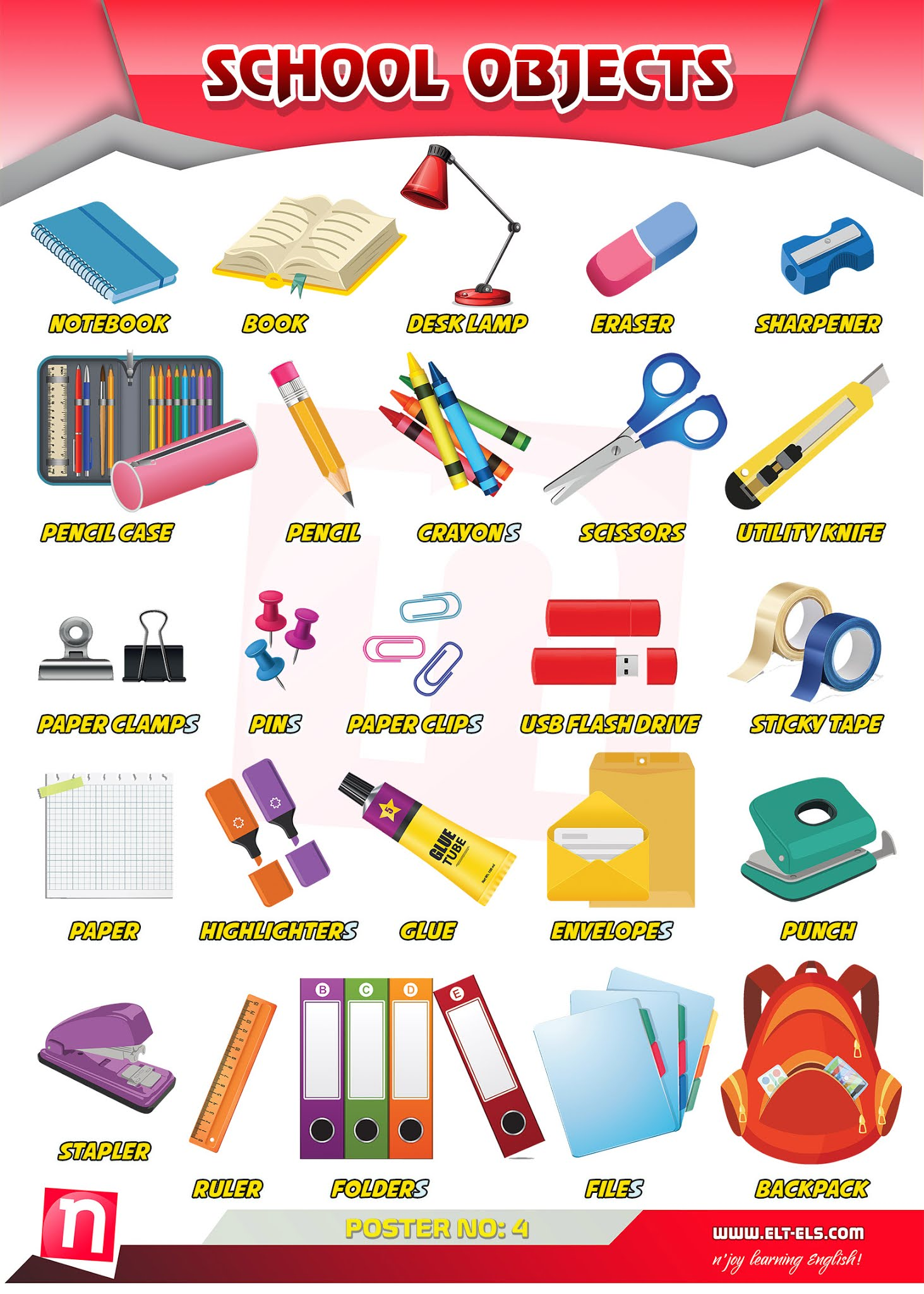 School objects in English