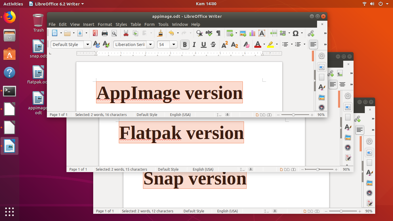 Comparing LibreOffice 6 2 Versions: AppImage, Flatpak, and Snap