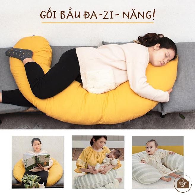 [A159] Gối cho bà bầu nâng đỡ bụng cho mẹ ngủ ngon - Gối bầu đậu khuyết