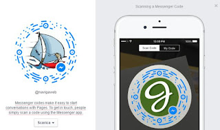 messenger con codici e username