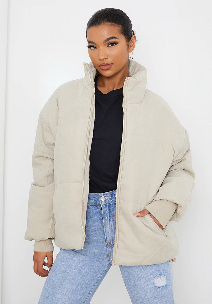 Stone Oversized Peach Skin Cuff Puffer Jacket