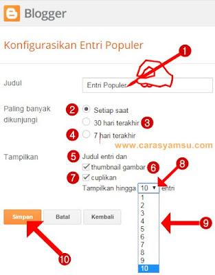 Cara Memasang Gadget Entri Populer di blogspot