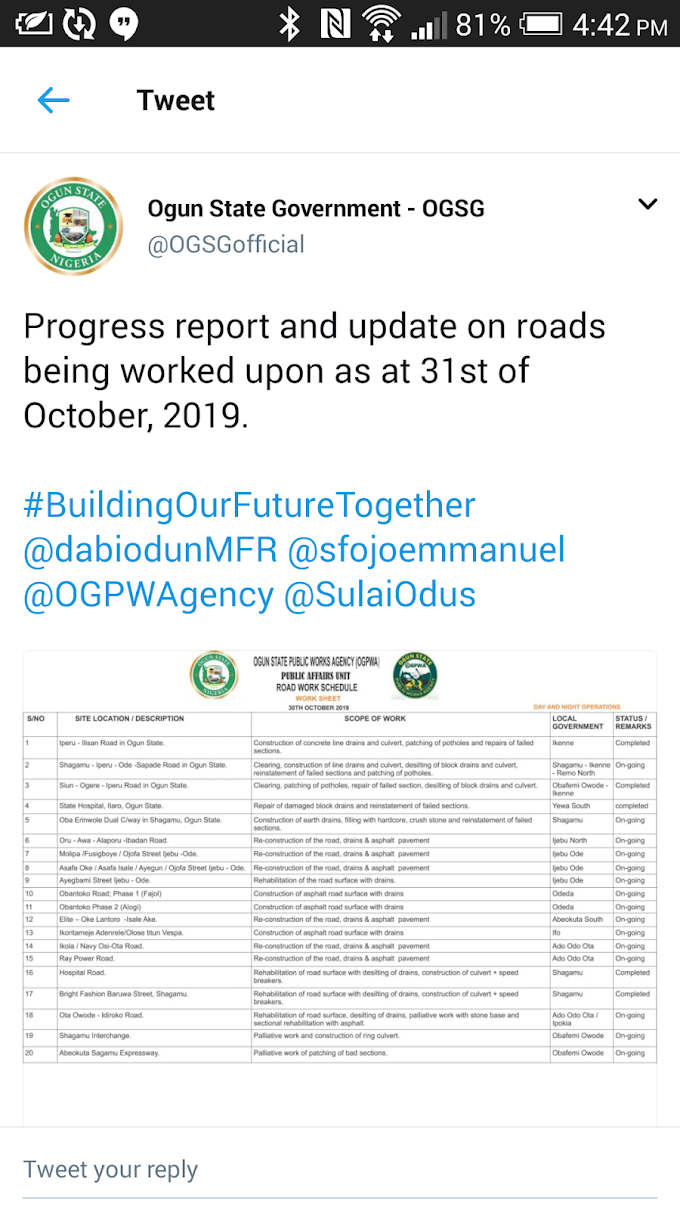 Ogun State Government released progress report and update barely 1hour after NBA Ota protested on bad roads.