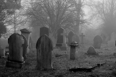 Cemetery in mist