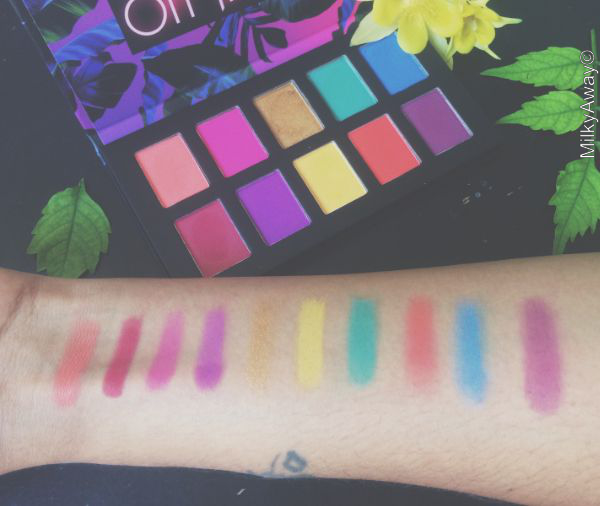 Swatch nuances palette Hasta la Vista Off Tropic NYX