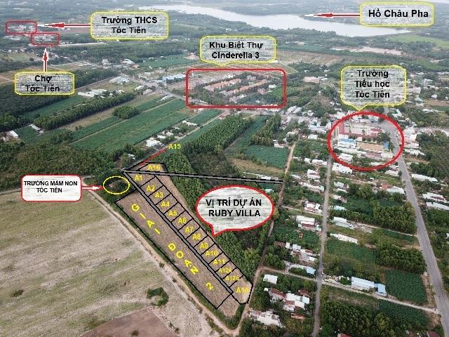 Hình ảnh dự án Ruby Villa Tóc Tiên Phú Mỹ từ trên cao