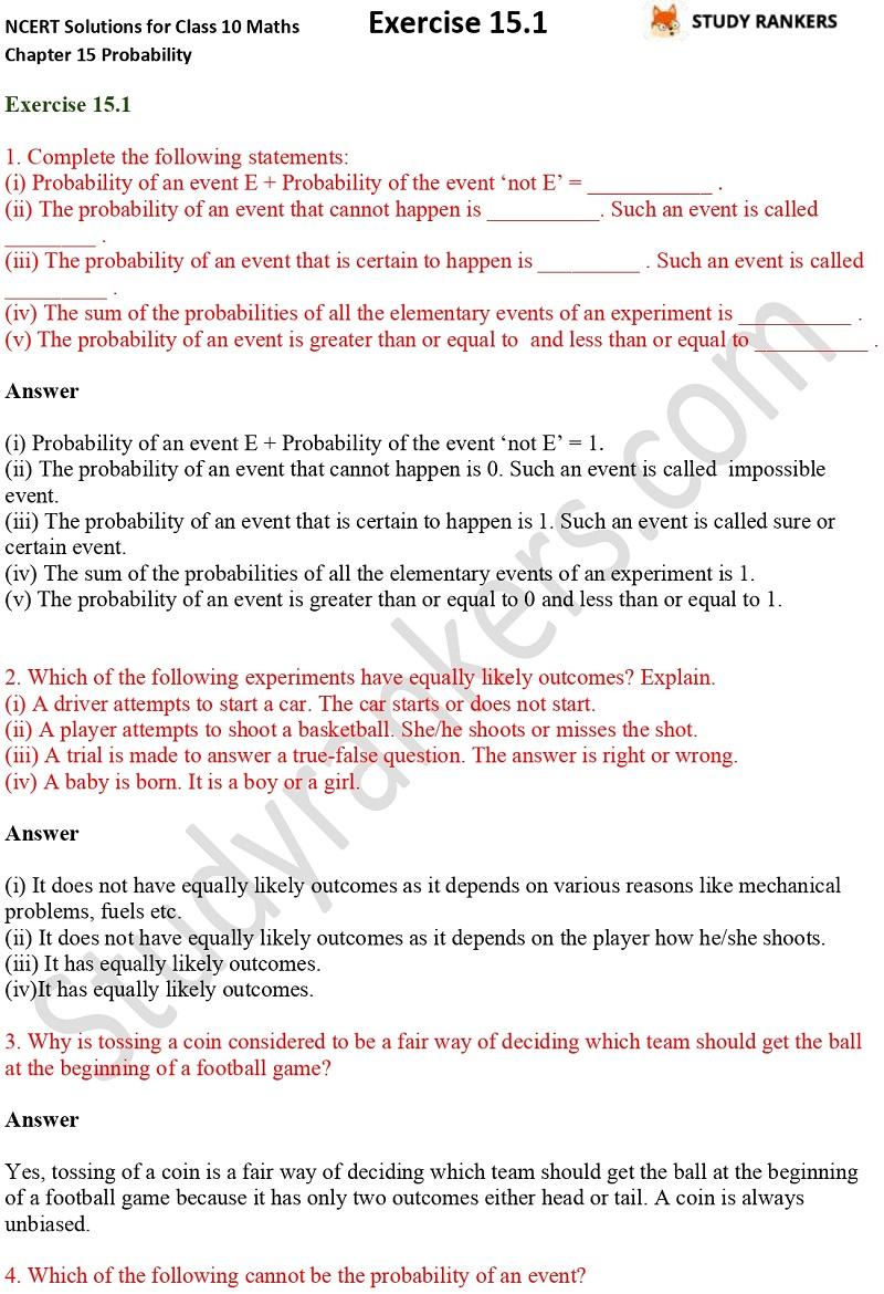 NCERT Solutions for Class 10 Maths Chapter 15 Probability Exercise 15.1 Part 1