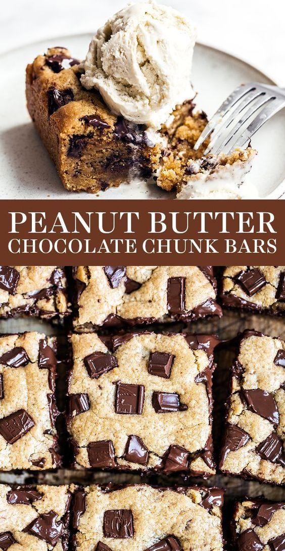 Peanut Butter Chocolate Chunk Bars