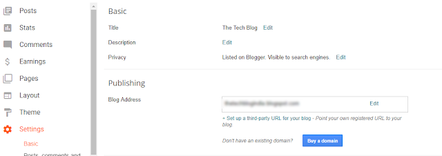 Publishing the Blog Address on Blogger