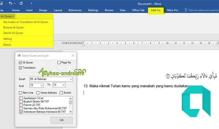 Cara Menambahkan Atau Memasukan Ayat Al-Qur'an Di Microsoft Word