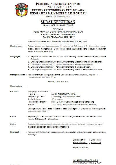 Download Contoh Surat Keterangan (SK) Honorer dari Kepala Sekolah File Word