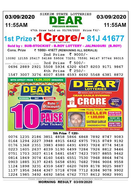 Lottery Sambad Today 03.09.2020 Dear Precious Morning 11:55 am