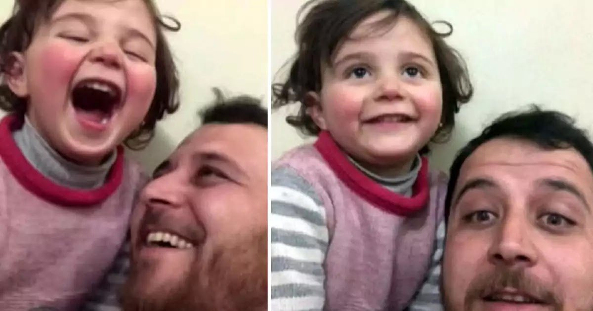Syrian Father Teaches His Daughter To Laugh When Bombs Explode