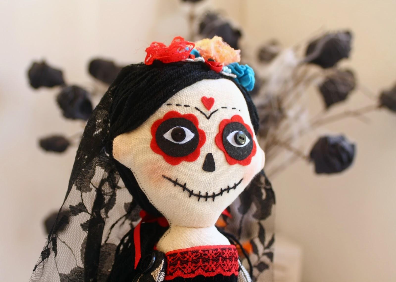 Rostro de muñeca La Catrina mexicana, halloween.