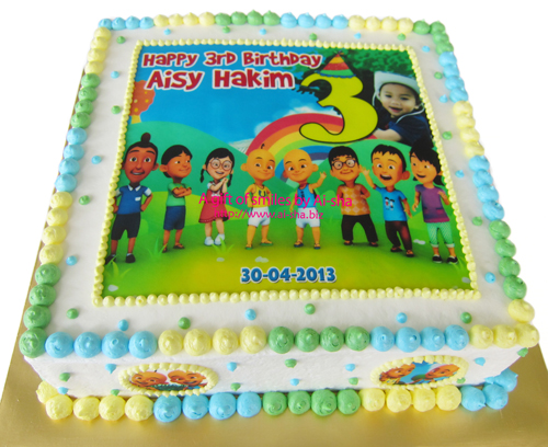 Birthday Cake Edible Image Upin Ipin Kek Harijadi Aisy Hakim
