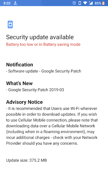 Nokia 6 receiving March 2019 Android Security update
