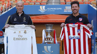 Zidane & Simeone pose with club shirts as Madrid & Atletico prepare to face off