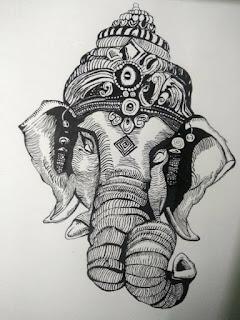 Shri Ganesha Pencil Sketch Image
