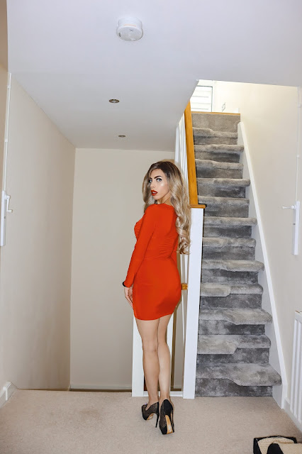 The Femme Luxe Red Square Neck Ruched Bodycon Mini Dress in model Gina.