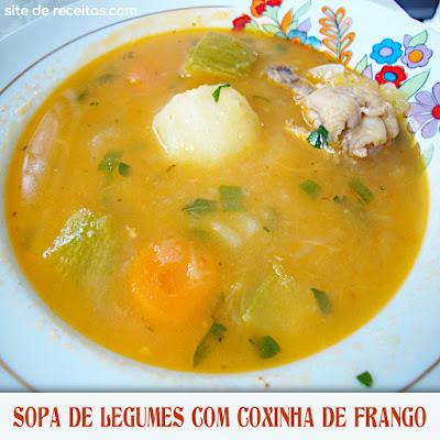 Sopa de legumes com coxinha de frango